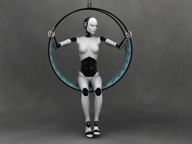 Robot woman sitting in futuristic hammock.