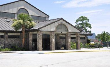 Exterior of a modern school building in South Carolina. stock vector