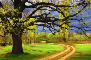 Landscape painting - giant oak, meadow and road