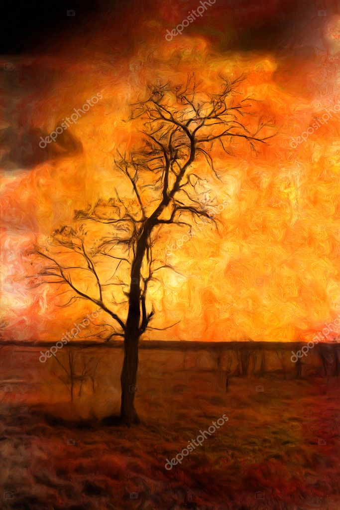 Art grunge landscape with lonely dry tree