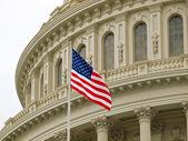 Spojené státy capitol stavba ve Washingtonu dc s americkou vlajkou