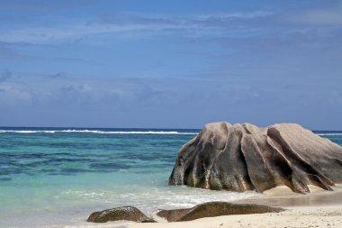 Granite boulders on Source d Argent beach, La Digue island, Seychelles