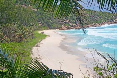Empty beach on La Digue island, Seychelles