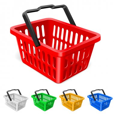 Colorful shopping basket. Illustration on white background stock vector