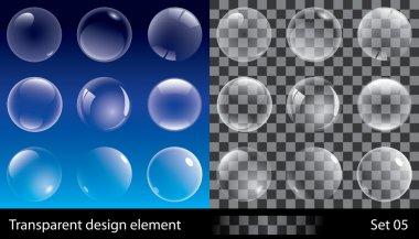 Set of transparent bubbles. Vector illustration for design. clip art vector