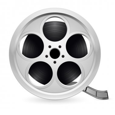 Realistic reel of film. Illustration on white background stock vector