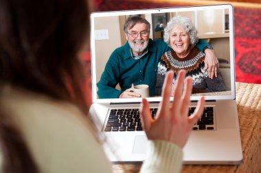 Senior couple video conference