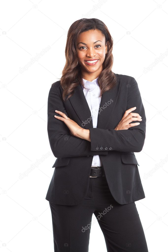 An isolated shot of a happy black businesswoman