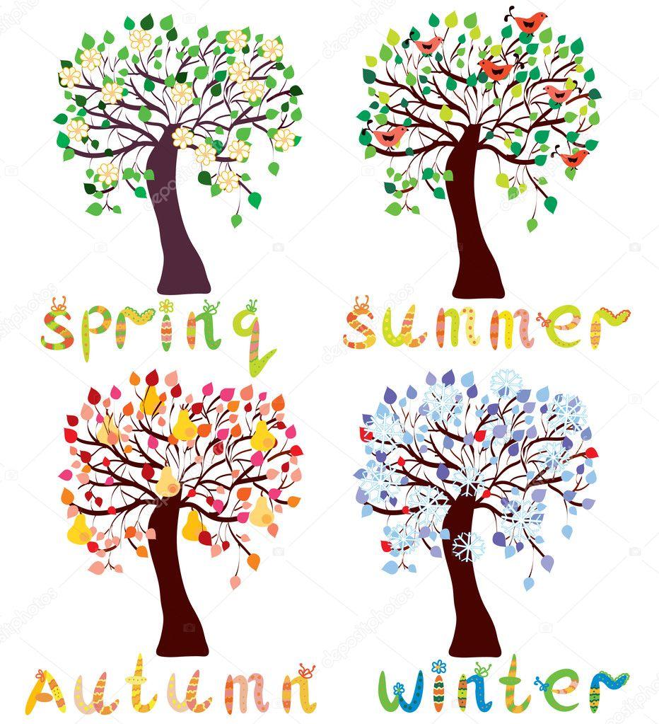 Set of season trees in childish style