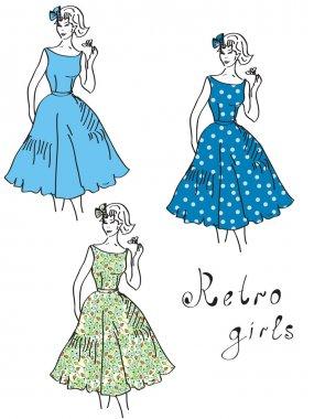 Vintage girls in floral dresses