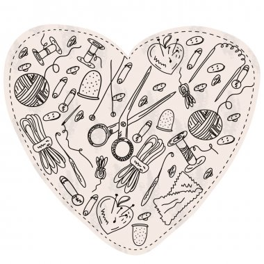 Heart with sewing items