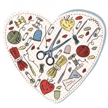 Sewing and knitting heart