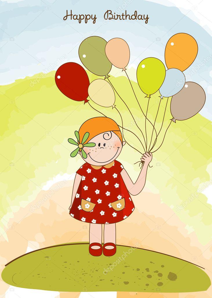 Открытки с днем рождения девушка с шариками