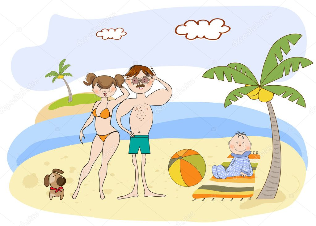 семья на море картинки карандашом фото