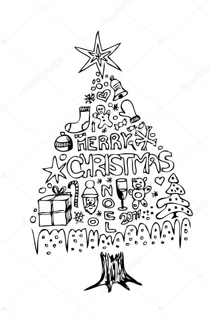 hand gezeichneten weihnachtsbaum stockvektor jonnysek. Black Bedroom Furniture Sets. Home Design Ideas