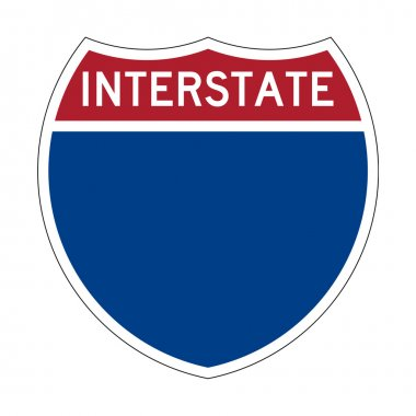 Blank Interstate Highway sign