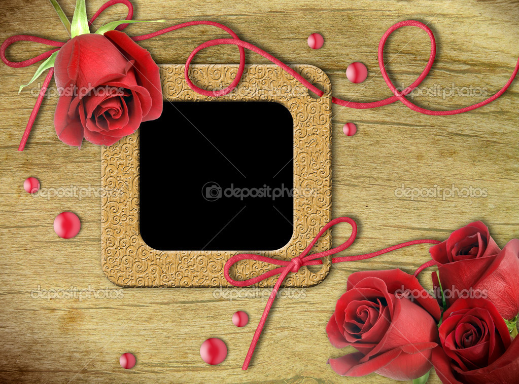 Vintage photo frames and roses
