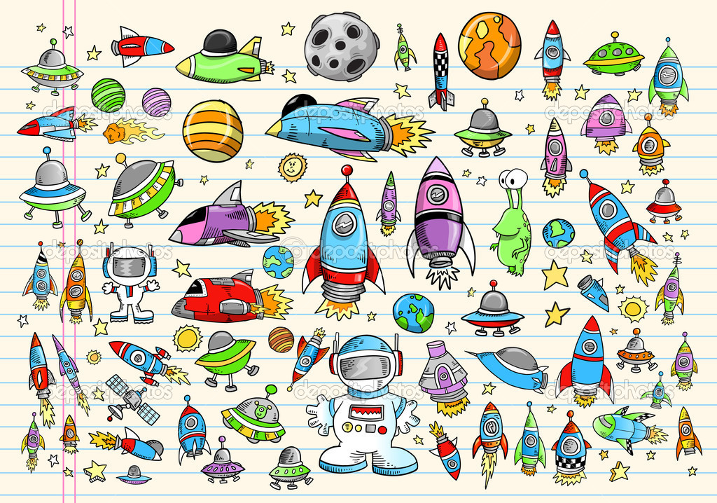 Color Doodle Notebook Mega Space Set Vector Illustration