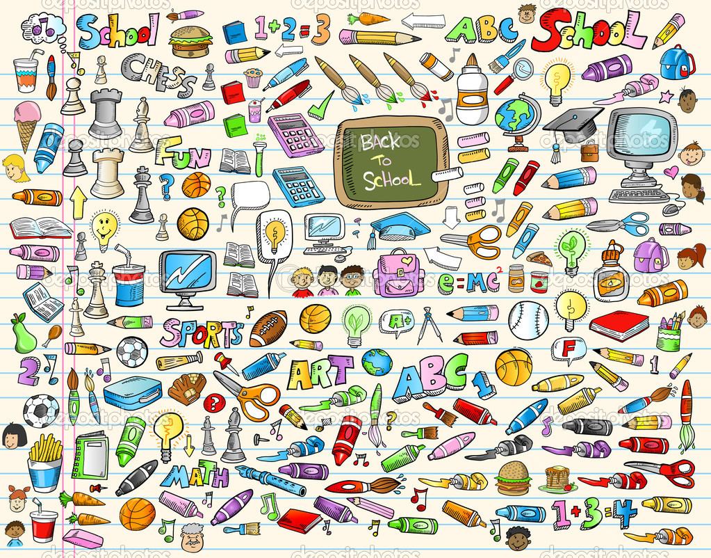 Learning Back to School Set Vector Illustration