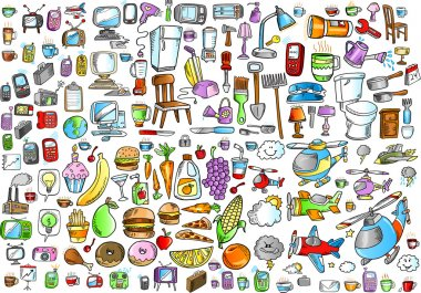 Office Food and Home Mega Elements Vector Set