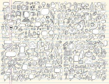 Notebook Doodle Sketch Design Elements Mega Vector Illustration Set
