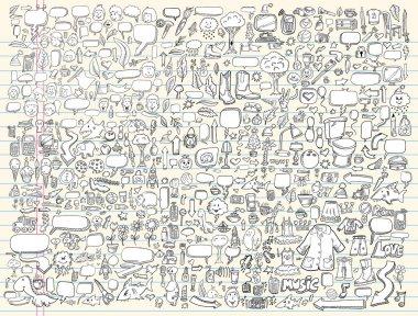 """Картина, постер, плакат, фотообои """"векторная иллюстрация элементов дизайна эскиза болвана ноутбука установлена"""", артикул 6441462"""