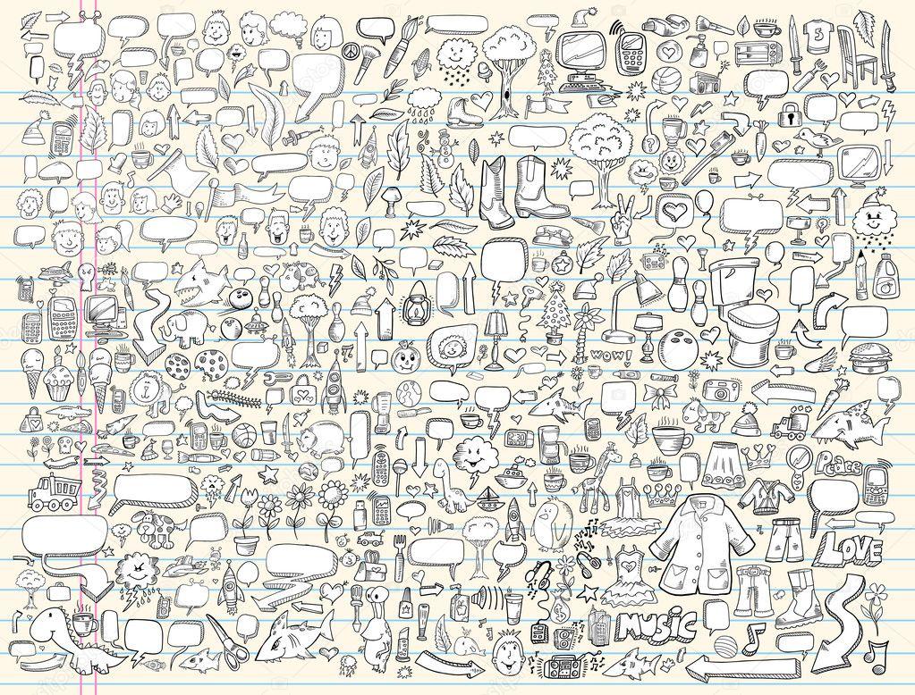 Notebook Doodle Sketch Design Elements Vector Illustration Set