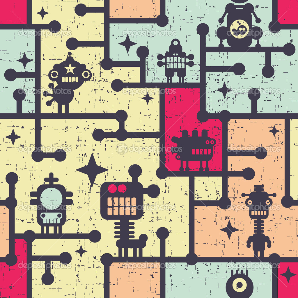 Robot and monsters colorful seamless pattern.