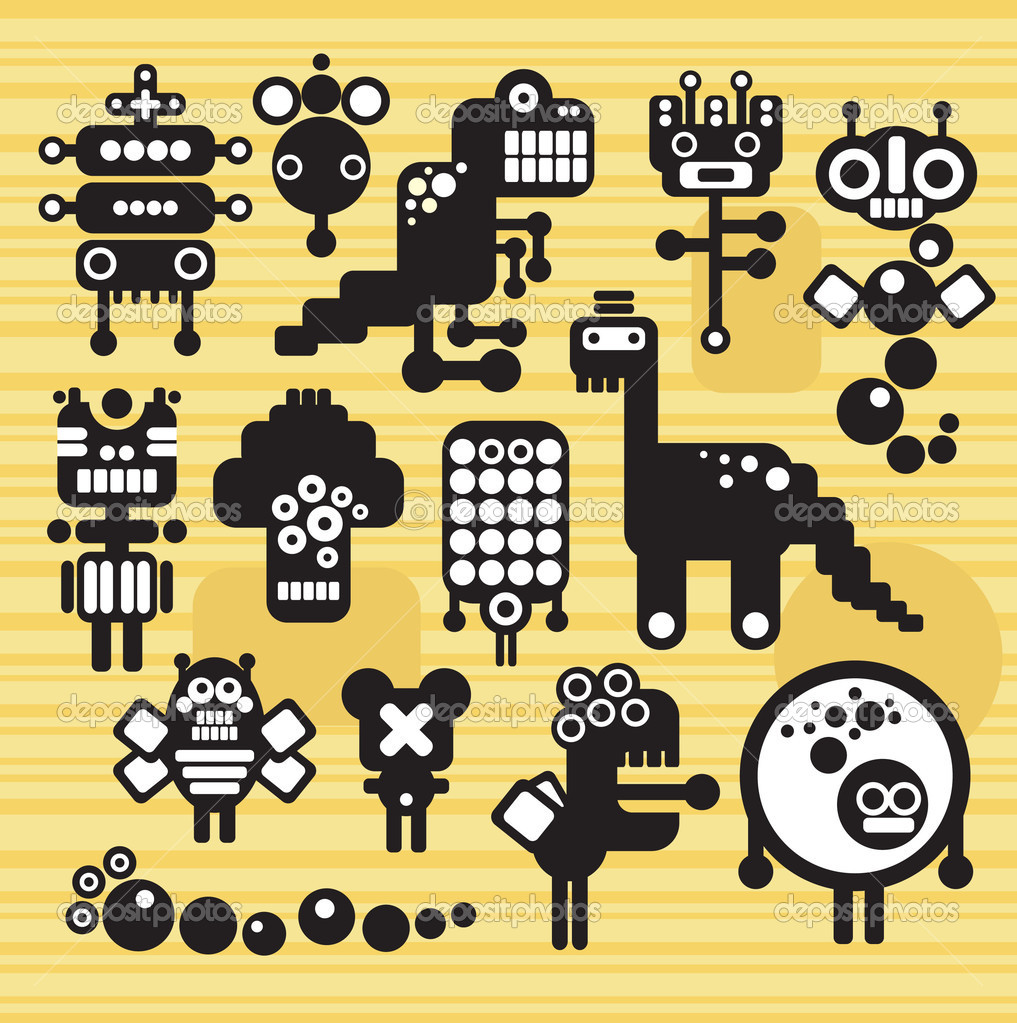 Robots and monsters collection. Vector illustration.