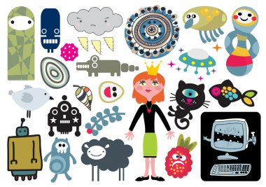 Mix of different vector images and icons. vol.15