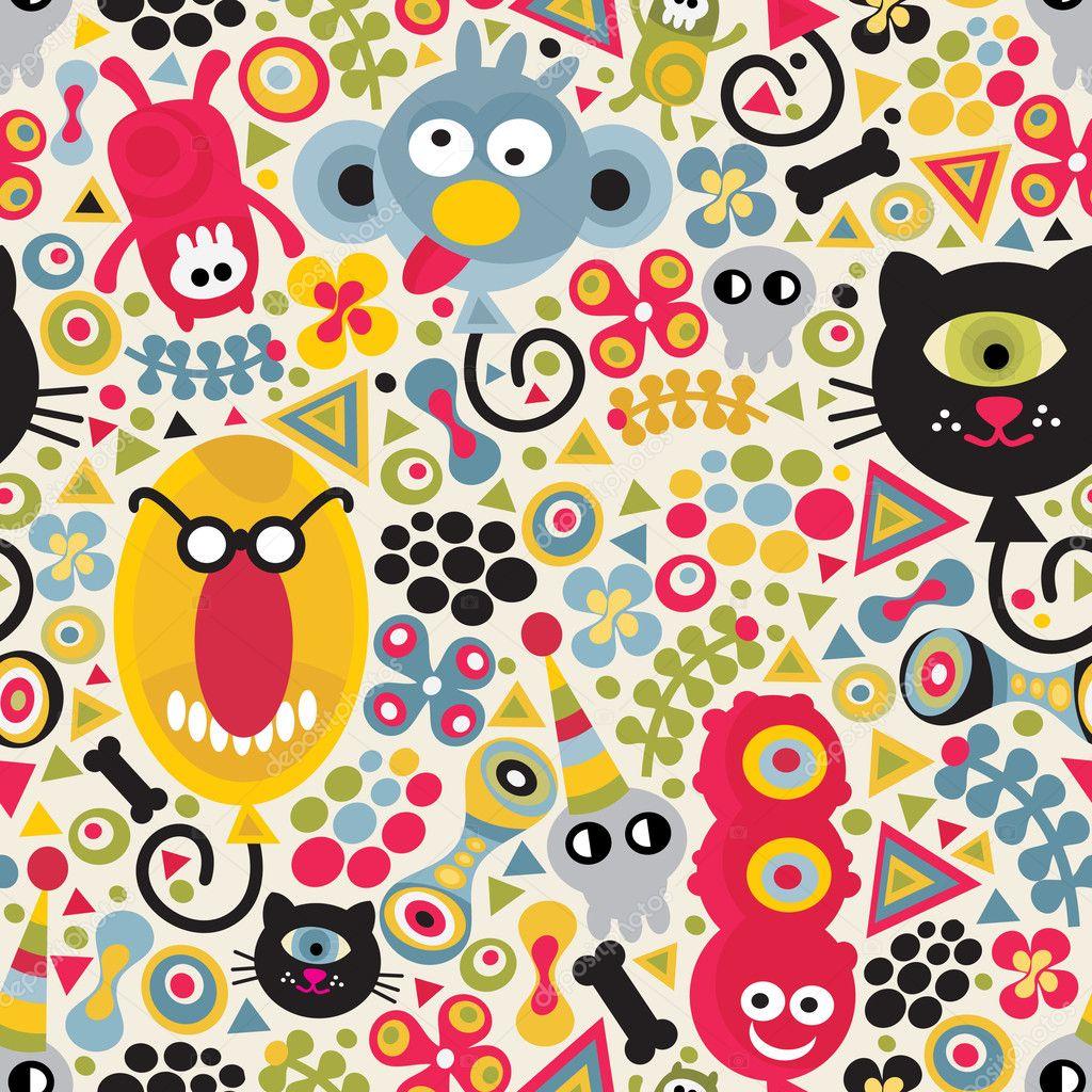 Cute monsters seamless pattern.