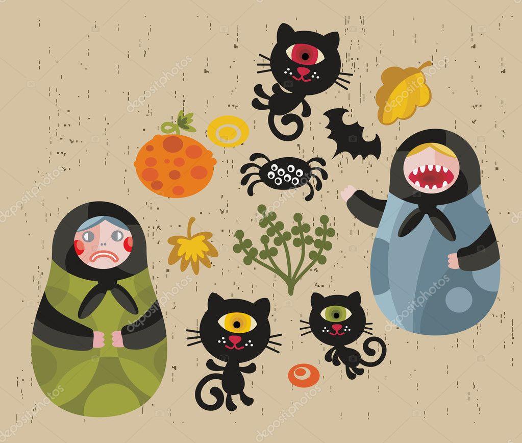 Halloween icons with matreshka and cats.