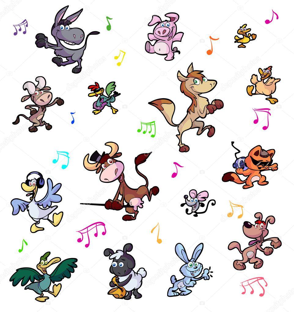 Raccolta di balli animali pazzi — vettoriali stock