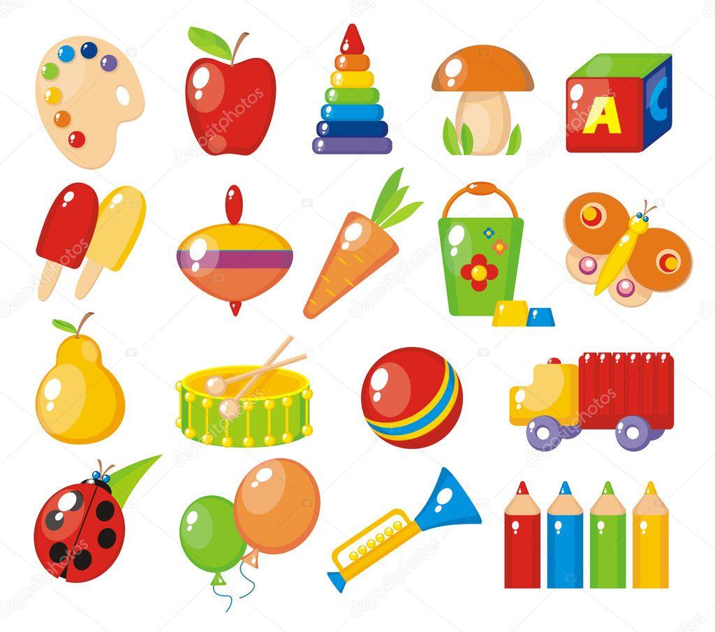 Illustrazione Colorati Per Bambini Giocattoli Colorati Per