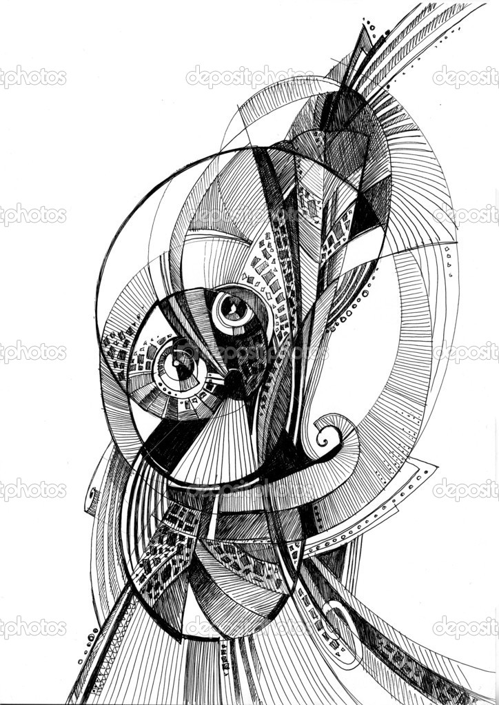 Unusual abstract pencil drawing stock photo