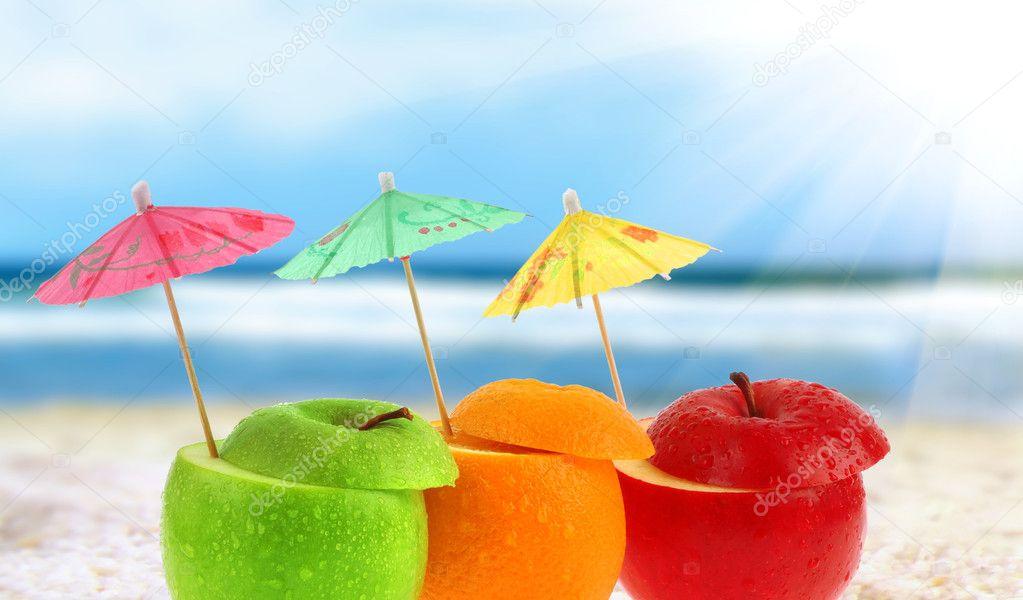 Fruit cocktail on a beach