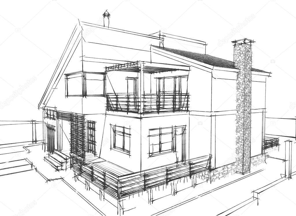 House sketch stock photo oqrosferi 5465905 for Architecture maison design esquisse