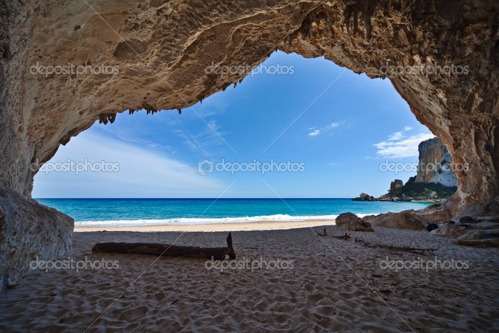 Paradise cave sea blue sky vacation