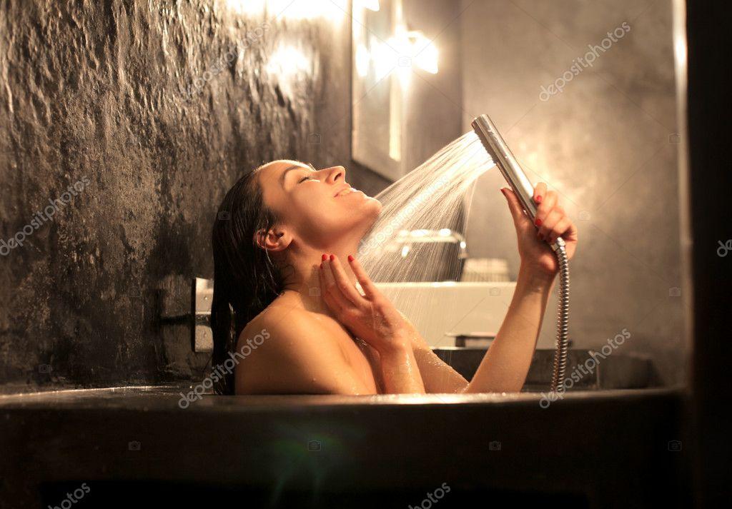 Enjoying her bath