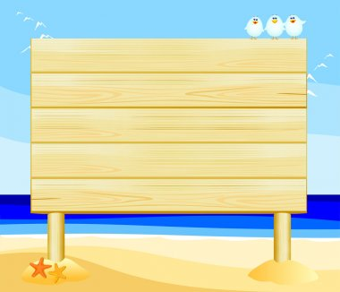 Customizable wooden sign on the beach, vector