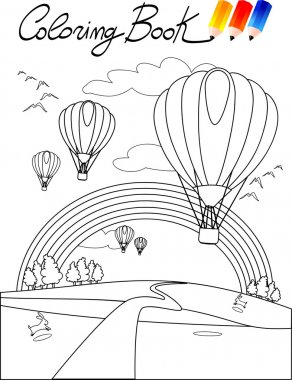 Coloring book for children, balloons