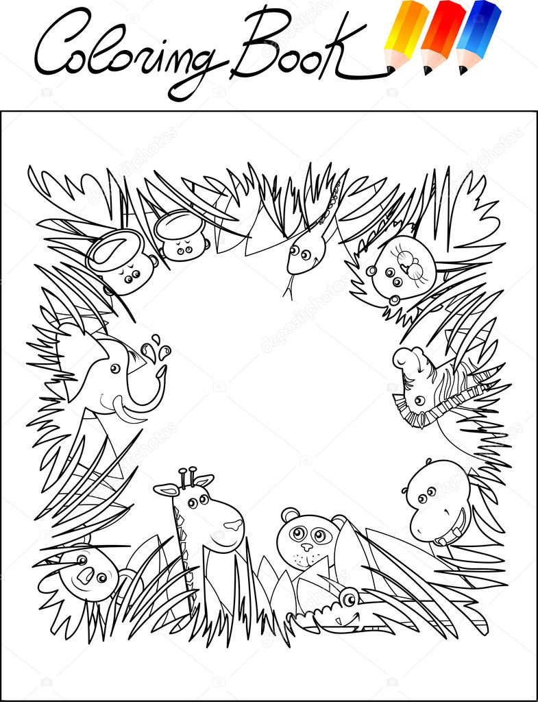 coloring book for children jungle animals u2014 stock vector