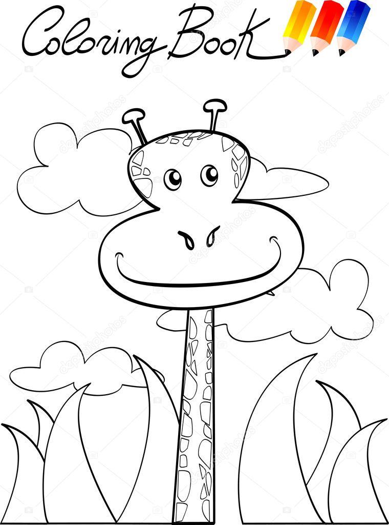 Zürafa çocuklar Için Boyama Kitabı Stok Vektör Luisaventuroli