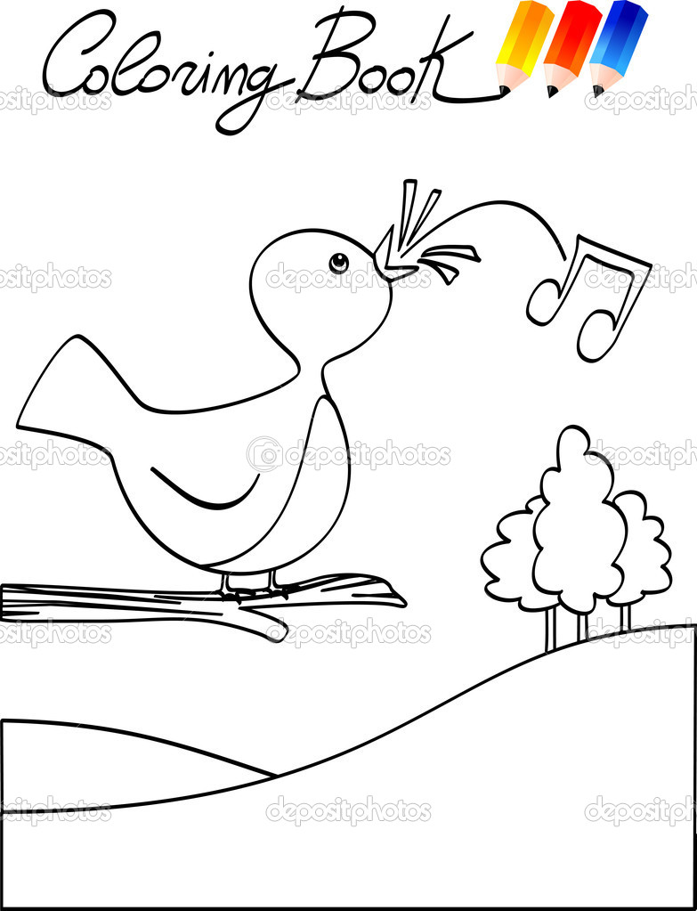 libro para colorear para niños, pájaro — Archivo Imágenes ...