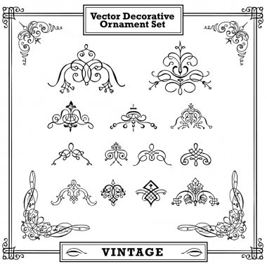 Vector Ornate Swirl Ornament Set. Easy to edit. Perfect for invitations or announcements. stock vector