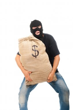 Happy robber with sack full of dollars
