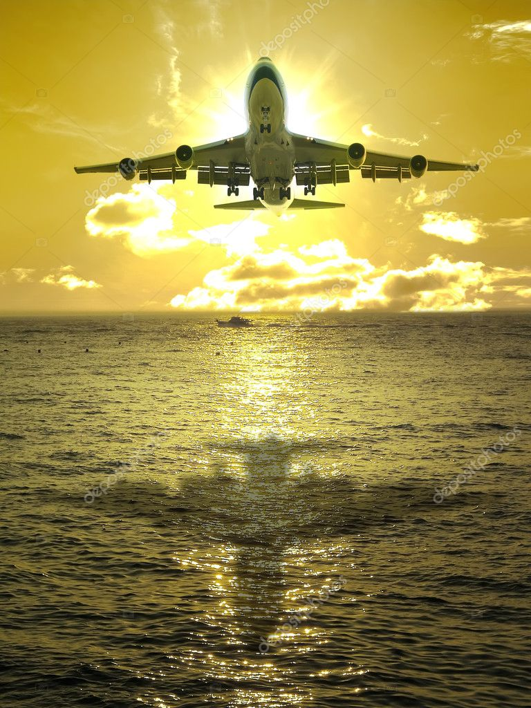 Sunset and airplane