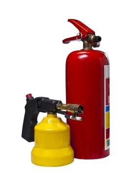 Yangın söndürücü ve Gaz brülörlü.