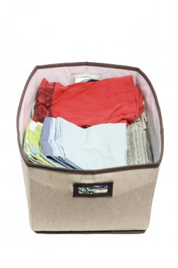 Folded Clothes in Storage Box