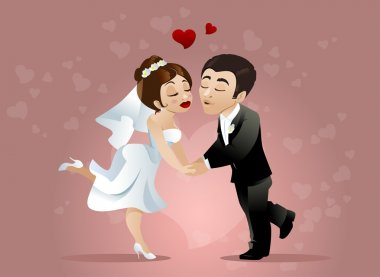 Couple is going to kiss at their wedding day stock vector